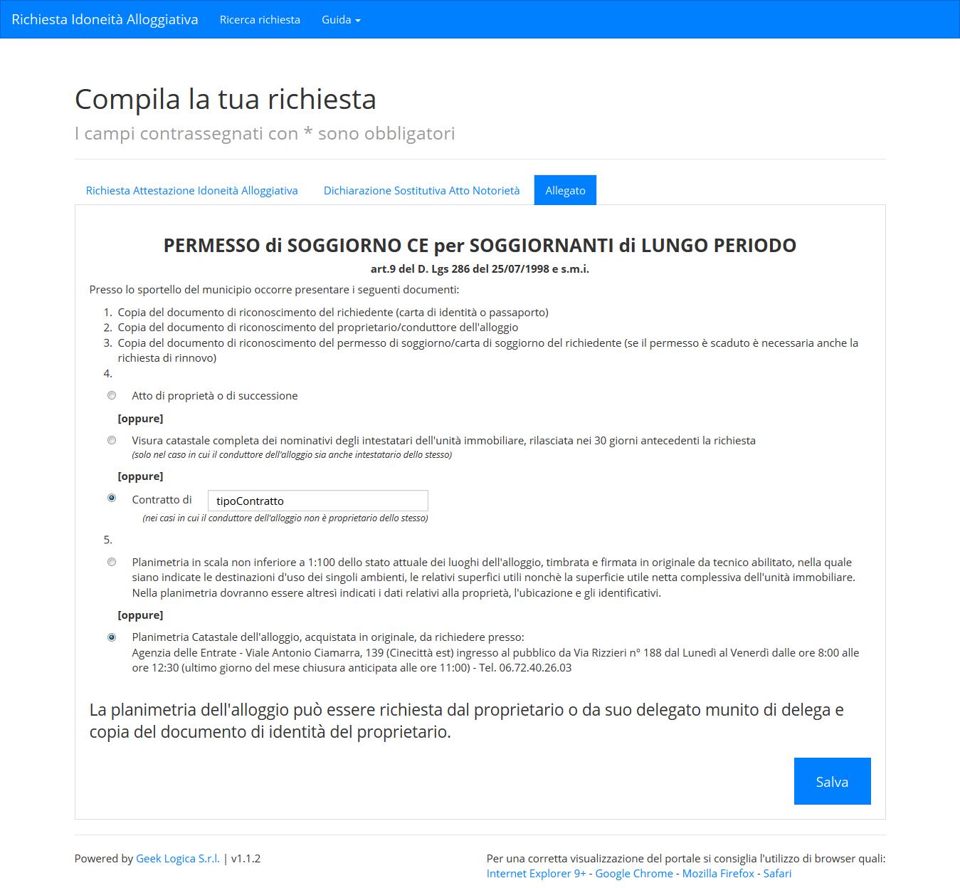 Nuova Richiesta — Richiesta Idoneit  Alloggiativa 1.0 documentation